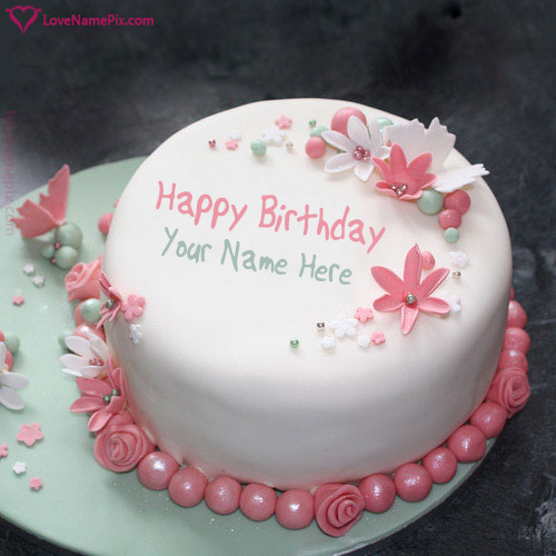 Create Flowers Birthday Cake With Writing With Name Edit