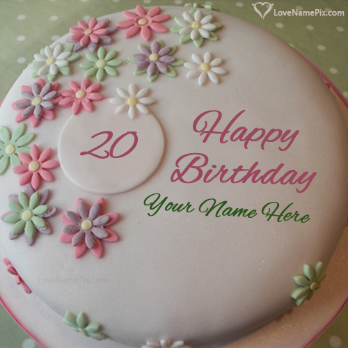 Flowers White Cream 20th Birthday Cake With Name Edit