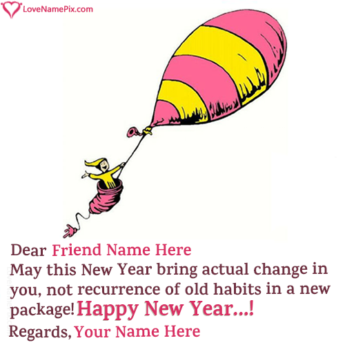 Write Name on Funny New Year Wishes For Friends Picture