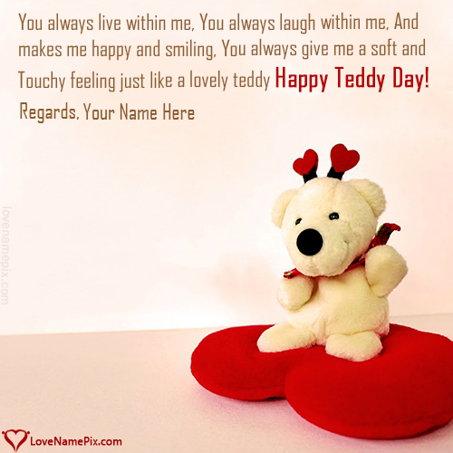 Write name on Generator For Teddy Day Wishes love quotes