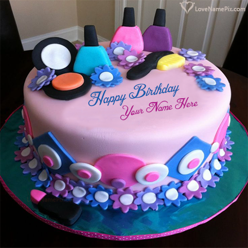Write Name On Girly Decorated Beautiful Birthday Cake Picture