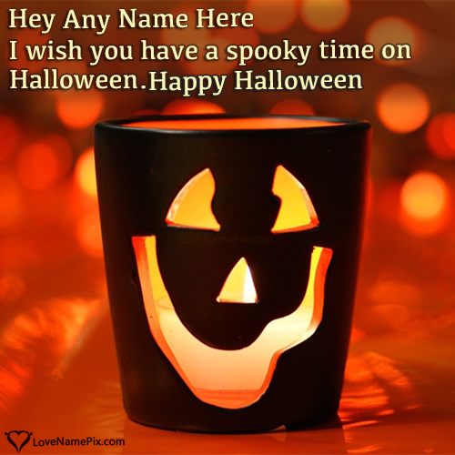 Write Name On Happy Halloween Greetings Cards Picture