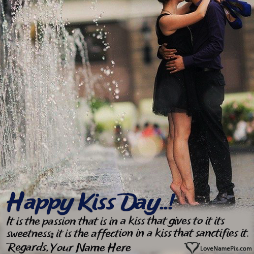 Write name on Happy Kiss Day Greeting For Couple love quotes