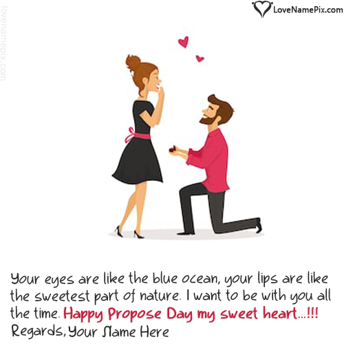 Write name on Happy Propose Day Wishes For Couple love quotes