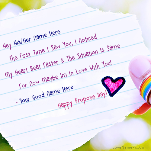 Write name on happy propose day wishes picture love name generator