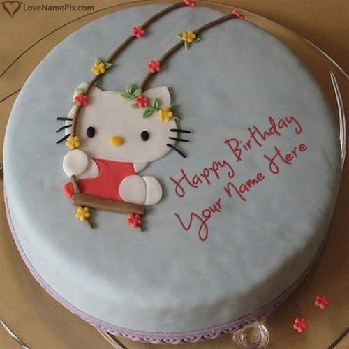 Write Name On Hello Kitty Birthday Cake For Girls Picture