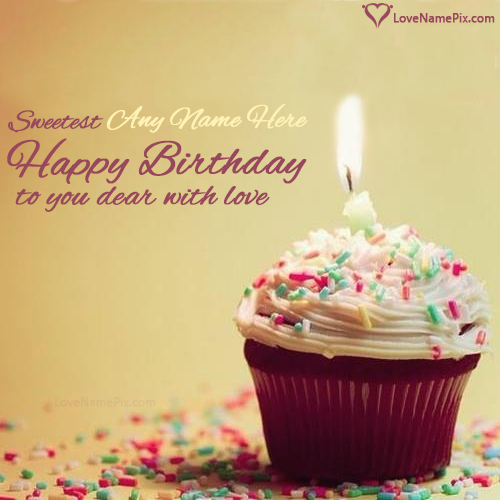 Lovely Cupcake Birthday Wish With Name Edit