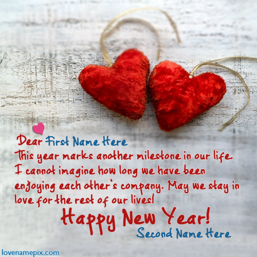 Lovers New Year Greetings With Name