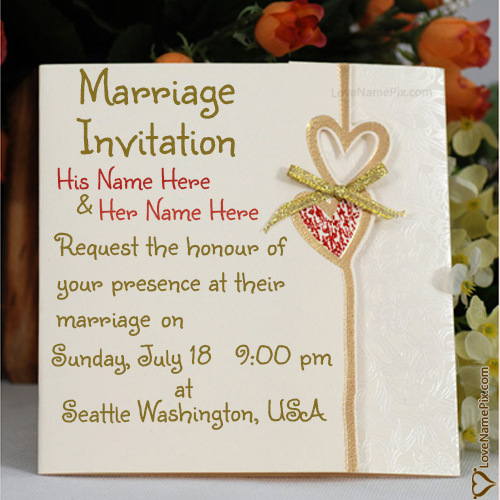 Write Name On Marriage Invitation Cards Designs Online Picture