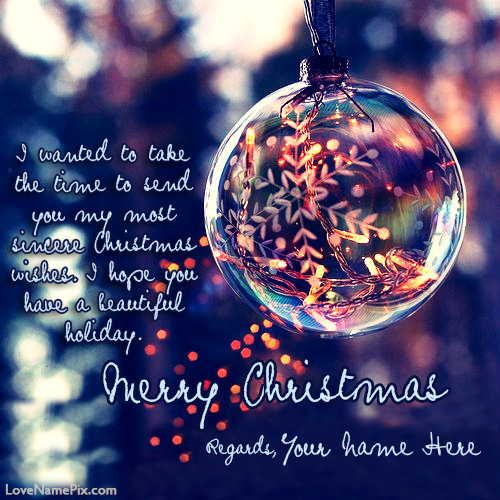 Merry Christmas Greeting Cards With Name Editing