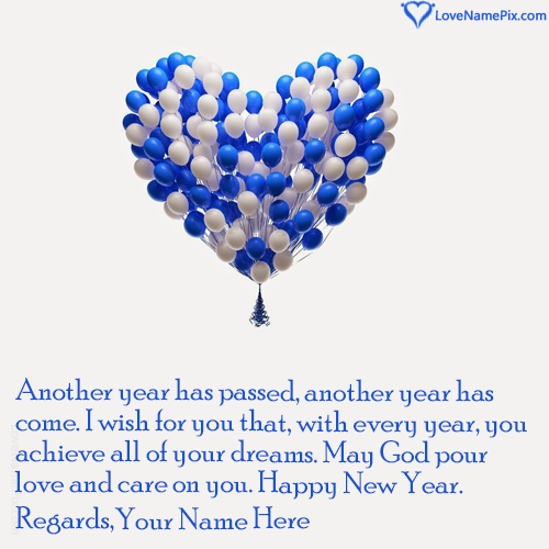 Write Name on New Year Wishes For Friends Picture