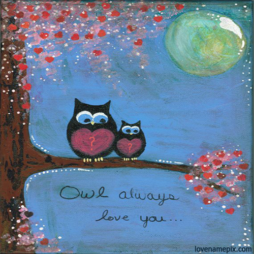 Write name on Owl Hearts Alphabets love quotes
