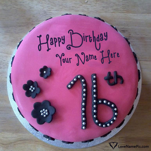 Create Pink Cake Pic For 16th Birthday With Name Edit