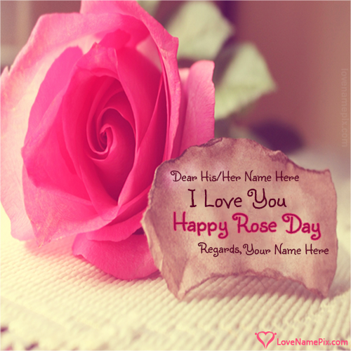 Write name on Pink Happy Rose Day Wishes love quotes