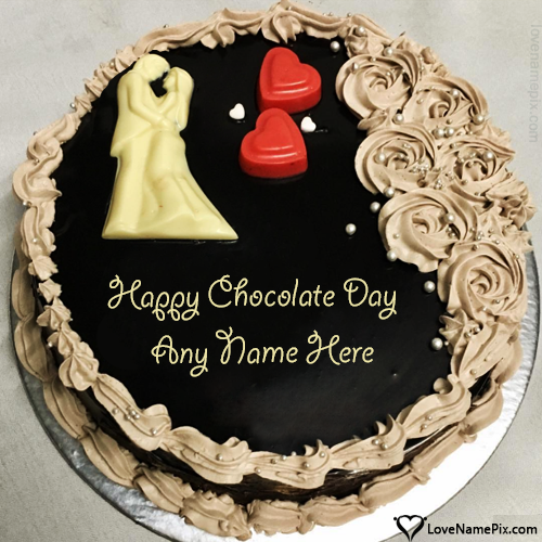 Write name on Romantic Couple Happy Chocolate Day Cake love quotes