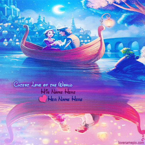 Write Name On Romantic Disney Tangled Couple Picture