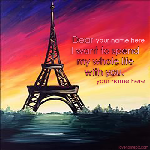 Write name on Romantic Eiffel Tower love quotes
