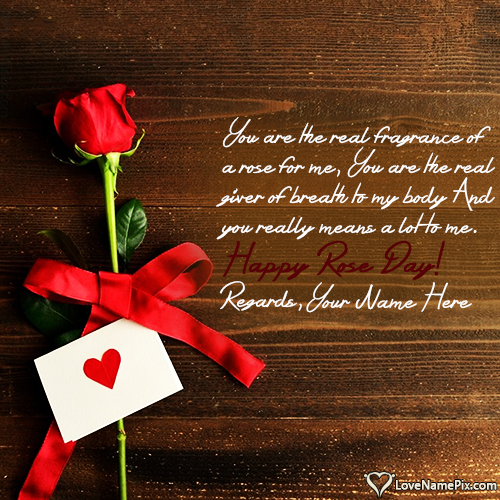 Write name on Romantic Happy Rose Day Images love quotes