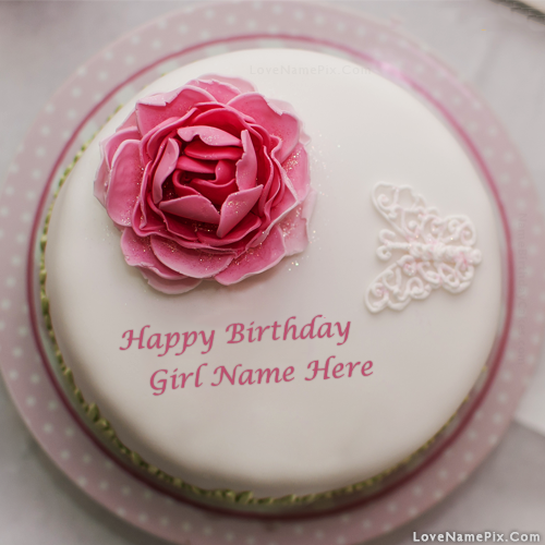 Create Rose Birthday Cake For Girls With Name Edit