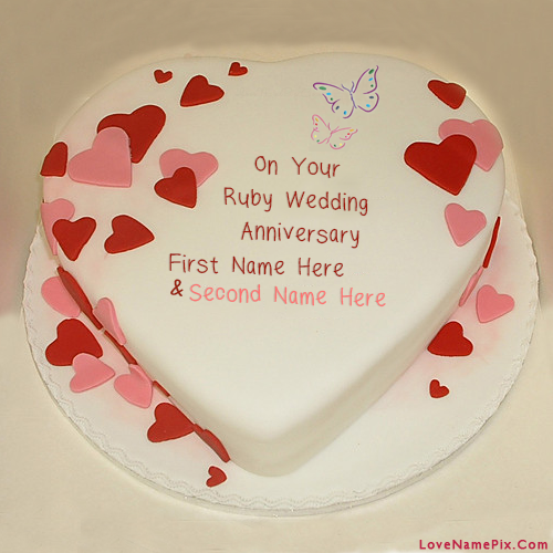 Wedding Anniversary Couple Cake With Name Edit